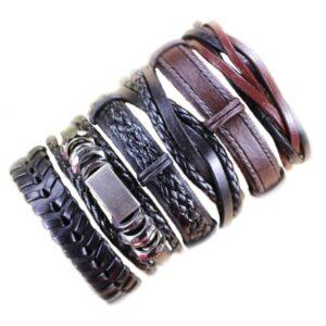 Wholesale 10PCS/lot (Random 10pcs ) Mix Styles Braided Bracelets Or 6pcs Leather Bracelets For Men Wrap Bangle Party Gifts MX5 Jewelery & Apparel Mens Apparel Mens Bracelet Metal Color: D22 - 6PCS