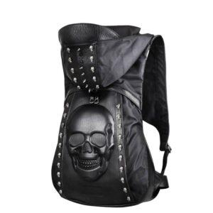New 2019 Fashion Personality 3D skull leather backpack rivets skull backpack with Hood cap apparel bag cross bags hiphop man Our British Brands Selected Brands Timelord Clothing UK cb5feb1b7314637725a2e7: Black