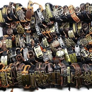 MIXMAX 100pcs leather bracelet men Genuine vintage punk rock retro bangle for women couple pulsera hombre wholesale lots bulk Jewelery & Apparel Mens Apparel Mens Bracelet 8d255f28538fbae46aeae7: alloy bracelet|leather bracelet