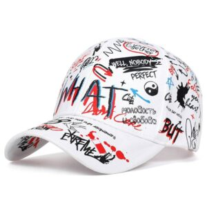 2019 new Fashion Graffiti printing Baseball Cap Outdoor cotton Shade Hat men women Summer Caps adjustable Leisure hats Bullet Cheetah Our British Brands Selected Brands Color: White