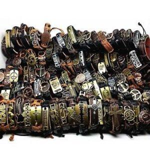 MIXMAX 100pcs leather bracelet men Genuine vintage punk rock retro bangle for women couple pulsera hombre wholesale lots bulk Jewelery & Apparel Mens Apparel Mens Bracelet Metal Color: alloy bracelet