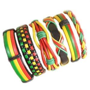 Wholesale 10PCS/lot (Random 10pcs ) Mix Styles Braided Bracelets Or 6pcs Leather Bracelets For Men Wrap Bangle Party Gifts MX5 Jewelery & Apparel Mens Apparel Mens Bracelet Metal Color: D95 - 6PCS