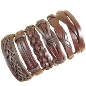 Wholesale 10PCS/lot (Random 10pcs ) Mix Styles Braided Bracelets Or 6pcs Leather Bracelets For Men Wrap Bangle Party Gifts MX5 Jewelery & Apparel Mens Apparel Mens Bracelet Metal Color: D86 - 6PCS