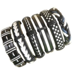 Wholesale 10PCS/lot (Random 10pcs ) Mix Styles Braided Bracelets Or 6pcs Leather Bracelets For Men Wrap Bangle Party Gifts MX5 Jewelery & Apparel Mens Apparel Mens Bracelet Metal Color: D59 - 6PCS