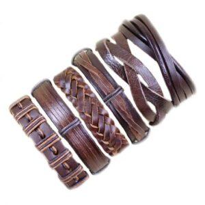 Wholesale 10PCS/lot (Random 10pcs ) Mix Styles Braided Bracelets Or 6pcs Leather Bracelets For Men Wrap Bangle Party Gifts MX5 Jewelery & Apparel Mens Apparel Mens Bracelet Metal Color: D124 - 6PCS