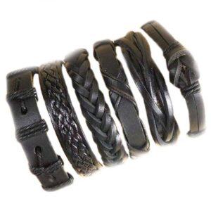 Wholesale 10PCS/lot (Random 10pcs ) Mix Styles Braided Bracelets Or 6pcs Leather Bracelets For Men Wrap Bangle Party Gifts MX5 Jewelery & Apparel Mens Apparel Mens Bracelet Metal Color: D30 6PCS