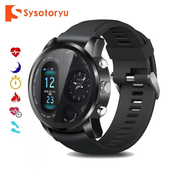 SYSOTORYU T3pro Smart Watch Dual Time Zone Sport Men Waterproof Smartwatch Heart Rate Bluetooth Activity Tracker for IOS Android Jewelery & Apparel Mens Apparel Mens Fitness Tracker Watch cb5feb1b7314637725a2e7: Black|Silver