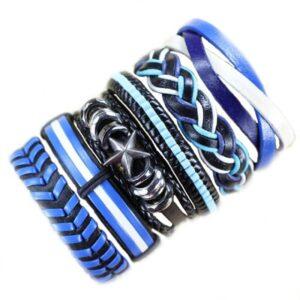 Wholesale 10PCS/lot (Random 10pcs ) Mix Styles Braided Bracelets Or 6pcs Leather Bracelets For Men Wrap Bangle Party Gifts MX5 Jewelery & Apparel Mens Apparel Mens Bracelet Metal Color: D7 - 6PCS