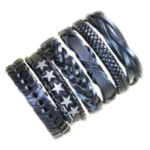 Wholesale 10PCS/lot (Random 10pcs ) Mix Styles Braided Bracelets Or 6pcs Leather Bracelets For Men Wrap Bangle Party Gifts MX5 Jewelery & Apparel Mens Apparel Mens Bracelet Metal Color: D1 - 6PCS