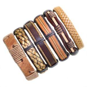 Wholesale 10PCS/lot (Random 10pcs ) Mix Styles Braided Bracelets Or 6pcs Leather Bracelets For Men Wrap Bangle Party Gifts MX5 Jewelery & Apparel Mens Apparel Mens Bracelet Metal Color: D33 - 6PCS