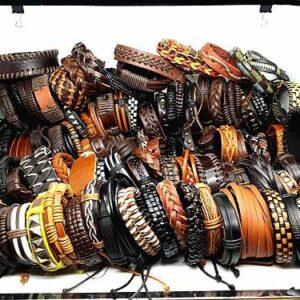 MIXMAX 100pcs leather bracelet men Genuine vintage punk rock retro bangle for women couple pulsera hombre wholesale lots bulk Jewelery & Apparel Mens Apparel Mens Bracelet Metal Color: leather bracelet