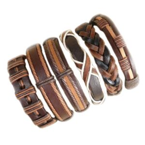 Wholesale 10PCS/lot (Random 10pcs ) Mix Styles Braided Bracelets Or 6pcs Leather Bracelets For Men Wrap Bangle Party Gifts MX5 Jewelery & Apparel Mens Apparel Mens Bracelet Metal Color: D81 - 6PCS