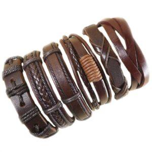 Wholesale 10PCS/lot (Random 10pcs ) Mix Styles Braided Bracelets Or 6pcs Leather Bracelets For Men Wrap Bangle Party Gifts MX5 Jewelery & Apparel Mens Apparel Mens Bracelet Metal Color: D40 - 6PCS