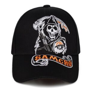 2018 new Baseball Cap SOA Sons of Anarchy Skull Embroidery Casual Snapback Hat Fashion High Quality Racing Motorcycle Sport Londoners Vanity Men's hats & cap Mens Fashion Color: black 2