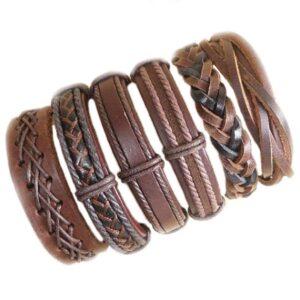 Wholesale 10PCS/lot (Random 10pcs ) Mix Styles Braided Bracelets Or 6pcs Leather Bracelets For Men Wrap Bangle Party Gifts MX5 Jewelery & Apparel Mens Apparel Mens Bracelet Metal Color: D23 - 6PCS