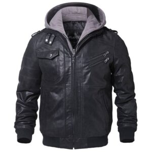 Men's Real Leather Jacket Men Motorcycle Removable Hood winter coat Men Warm Genuine Leather Jackets Big Bully (XXL-XXXL) Selected Brands Uprising Brands Color: Black Gray Size: L