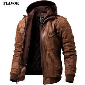 Men's Real Leather Jacket Men Motorcycle Removable Hood winter coat Men Warm Genuine Leather Jackets Big Bully (XXL-XXXL) Selected Brands Uprising Brands Color: Brown Size: S