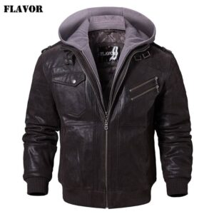 Men's Real Leather Jacket Men Motorcycle Removable Hood winter coat Men Warm Genuine Leather Jackets Big Bully (XXL-XXXL) Selected Brands Uprising Brands Color: Dark Brown Gray Size: XXXL