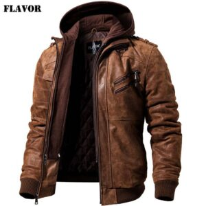 Men's Real Leather Jacket Men Motorcycle Removable Hood winter coat Men Warm Genuine Leather Jackets Big Bully (XXL-XXXL) Selected Brands Uprising Brands cb5feb1b7314637725a2e7: Black|Black Gray|Brown|Brown Gray|Dark Brown Gray