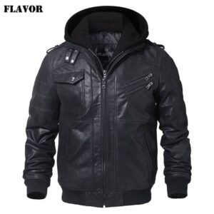 Men's Real Leather Jacket Men Motorcycle Removable Hood winter coat Men Warm Genuine Leather Jackets Big Bully (XXL-XXXL) Selected Brands Uprising Brands Color: Black Size: M