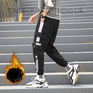 2020 Multi-pocket Harem Pants Men Elastic Waist Hip Hop Warm Streetwear Punk Casual Trousers Joggers Male Winter Fleece Pants Bullet Cheetah Our British Brands Selected Brands Size: 5XL Color: YLKCSP-K62JRWhite