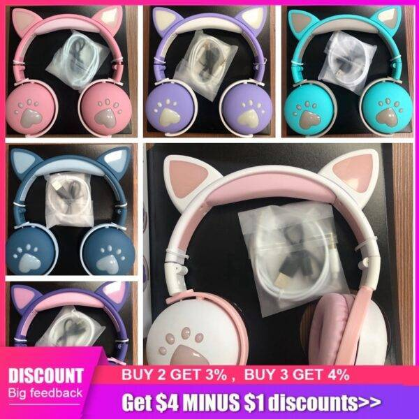 Foldable Cute Cat Bluetooth Wireless Headphone With microphone Flashing LED Cascos Music Noise Cancel Bass Cosque Girl Kids Gift Gym & Bodybuilding Ladies headband Sportswear Women
