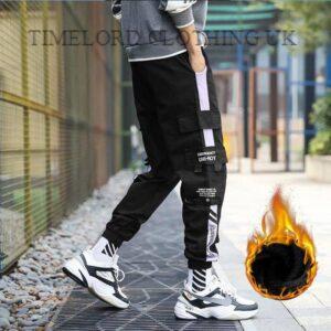 2020 Multi-pocket Harem Pants Men Elastic Waist Hip Hop Warm Streetwear Punk Casual Trousers Joggers Male Winter Fleece Pants Bullet Cheetah Our British Brands Selected Brands