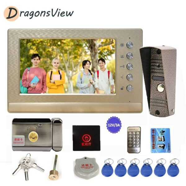 Dragonsview Video Intercom with Lock 7 inch Monitor 800TVL IP65 Doorbell Camera Video Door Phone Entry System Support Unlock CCTV Household Electronics Electronic Gadgets