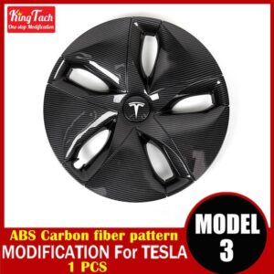 High-performance Wheel Hub Cover For Tesla MODEL 3 Modification Trim Rinng Decorative Exterior Modified Accessories Car Mats Home Decor & Accessories Color: ABS carbon 1pcs Ships From: China