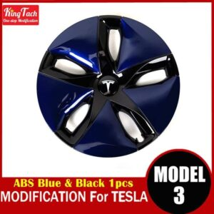 High-performance Wheel Hub Cover For Tesla MODEL 3 Modification Trim Rinng Decorative Exterior Modified Accessories Car Mats Home Decor & Accessories Color: Blue Black 1pcs Ships From: China