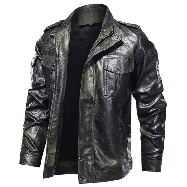 New Autumn winter leather jacket men stand collar motorcycle washed leather jacket mens pu coats quality leather military Bomber Our British Brands Selected Brands Timelord Clothing UK