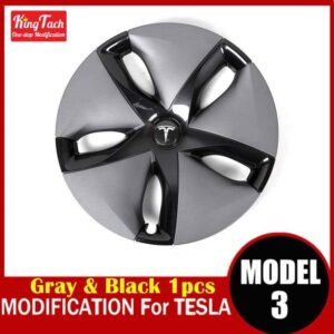 High-performance Wheel Hub Cover For Tesla MODEL 3 Modification Trim Rinng Decorative Exterior Modified Accessories Car Mats Home Decor & Accessories Color: Gray Black 1 pcs Ships From: China