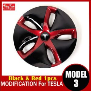 High-performance Wheel Hub Cover For Tesla MODEL 3 Modification Trim Rinng Decorative Exterior Modified Accessories Car Mats Home Decor & Accessories Color: Black Red 1 pcs Ships From: China