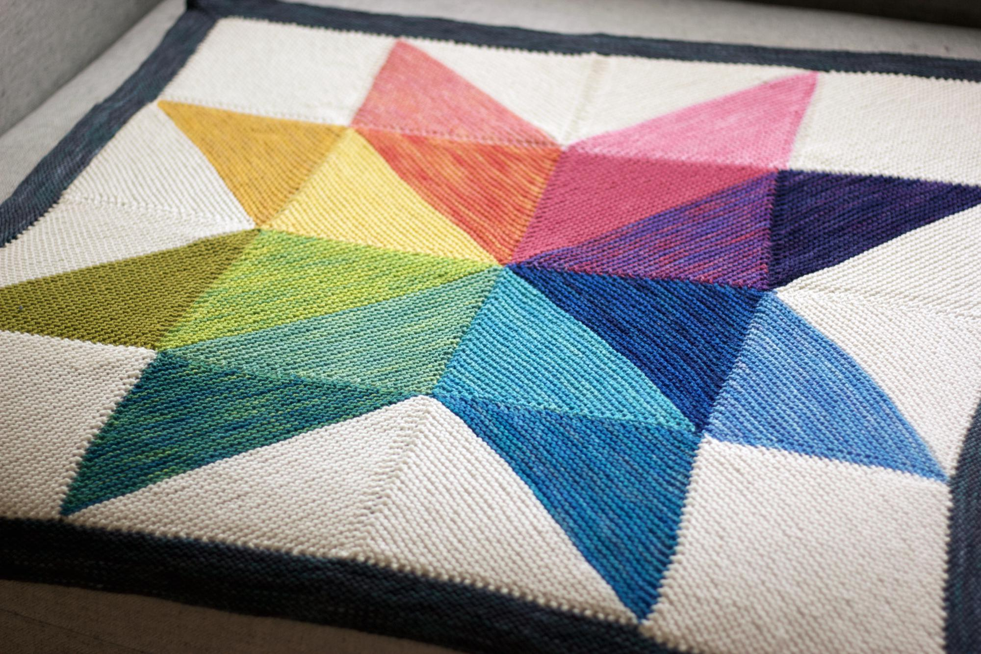 rainbow knitted quilt
