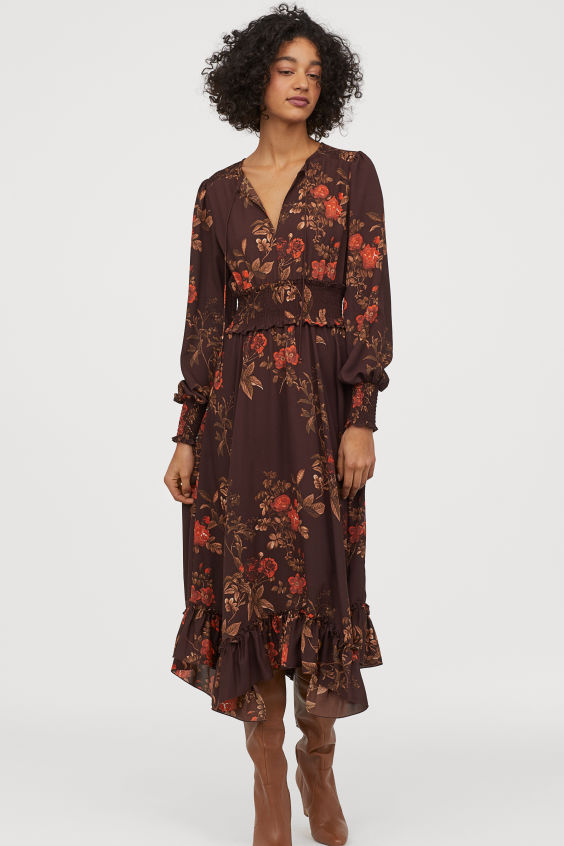 OOTD - How to Style your H&M-Long Dress with Smocking - Dark brown/red floral
