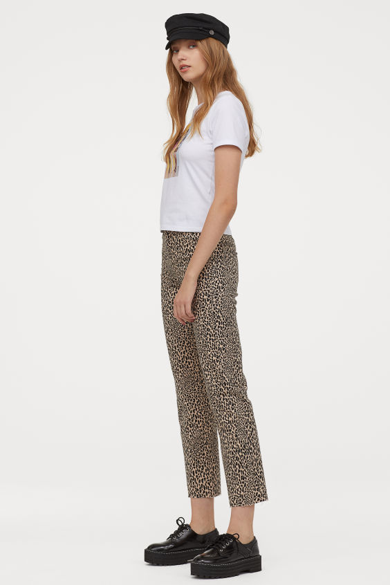 OOTD - How to Style your H&M-Straight High Ankle Jeans - Light beige/leopard print