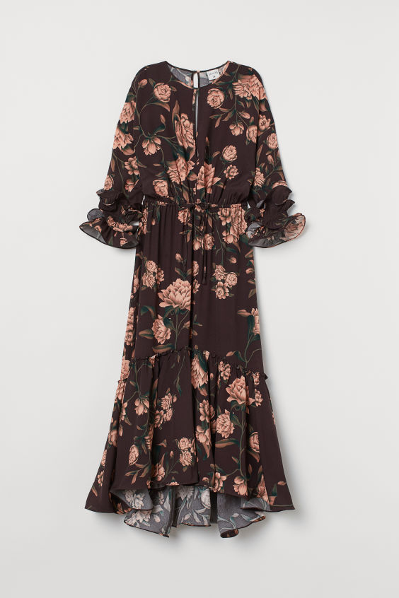 H&M Crêped Ruffled Dress - Dark brown/wild roses