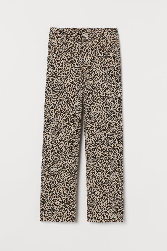 H&M Straight High Ankle Jeans - Light beige/leopard print