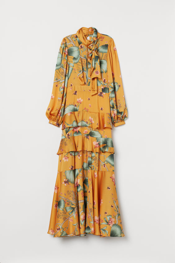 H&M Long Dress with Scarf Collar - Dark yellow/patterned