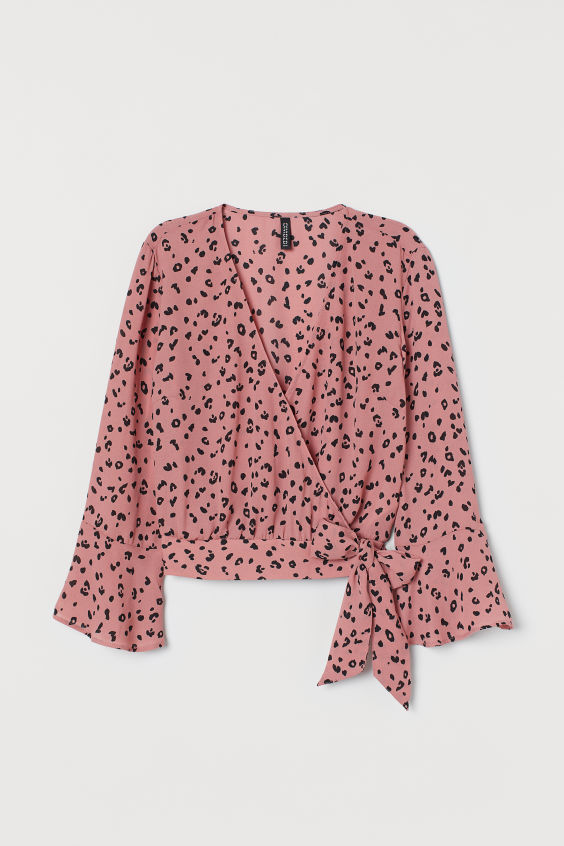 H&M Patterned Wrap-front Blouse