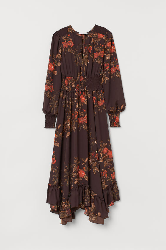 H&M Long Dress with Smocking - Dark brown/red floral