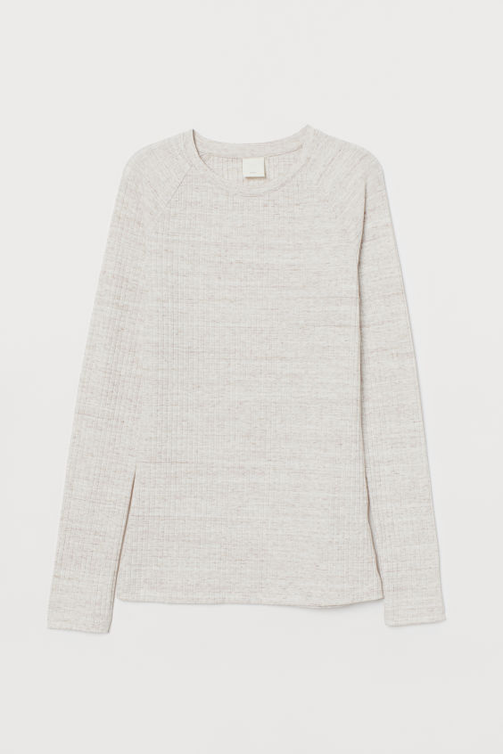 H&M Ribbed Top - Light beige melange
