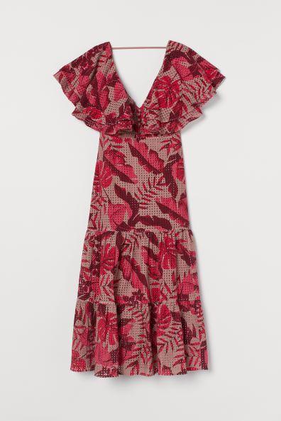 Johanna Ortiz x H&M Eyelet Embroidered Dress - Beige/leaf print