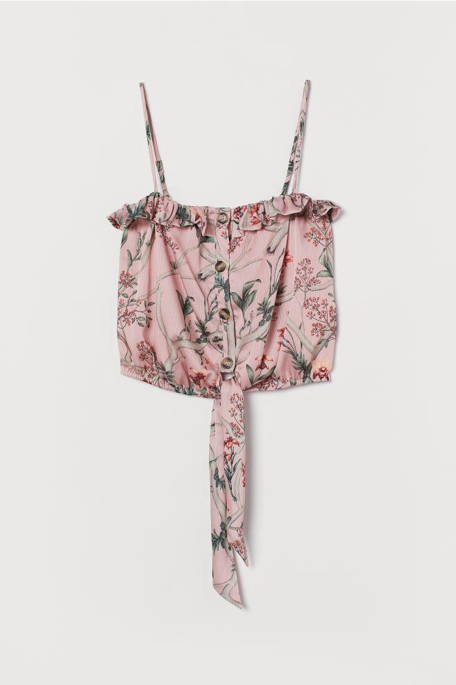 Johanna Ortiz x H&M Pink Floral Tie-hem Satin Blouse