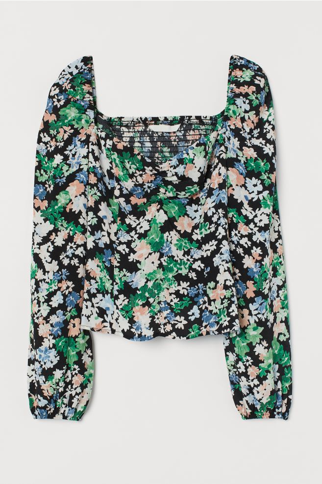 H&M Black floral Puff-sleeved Blouse