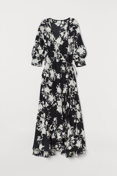 Johanna Ortiz x H&M Roses printed Maxi Wrap Dress in Black + White
