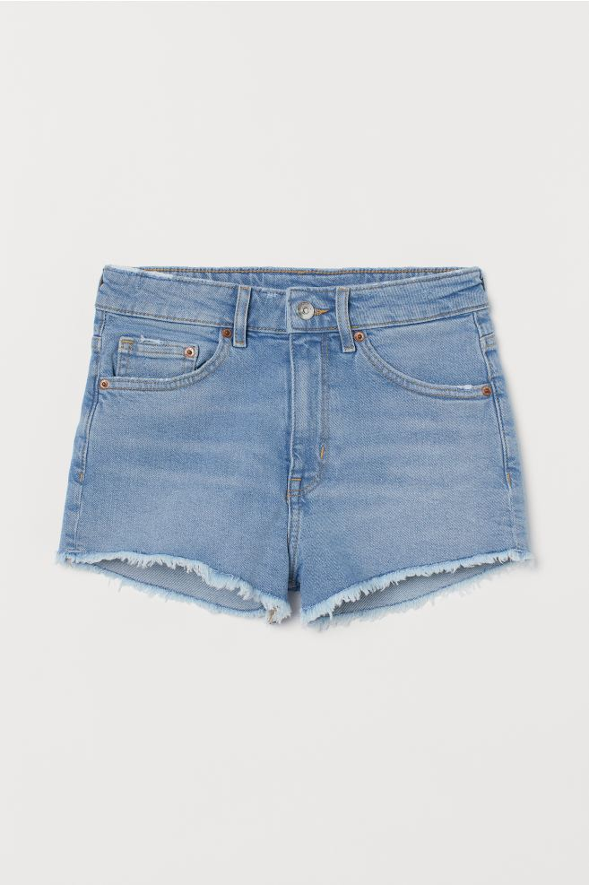 H&M Denim Shorts High Waist - Light denim blue