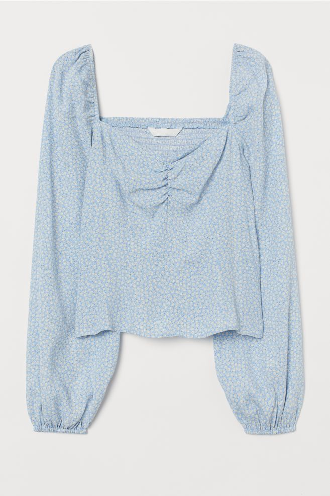 H&M Light Blue Floral Puff-sleeved Blouse