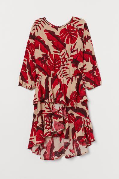 Johanna Ortiz x H&M Flounced Dress - Light beige/leaf print