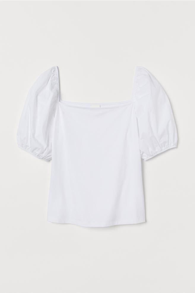 H&M White Puff-sleeved Top